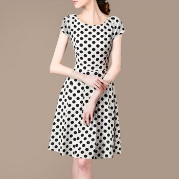 Summer New V-neck Short-sleeved Polka Dot Print A Lined Dress Sweet Bohemian Woman Dress Fashion Beatiful Summer Woman Dress