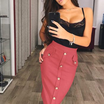 2020 New Women's Solid Color Thick Skirt Hips Slit Buttons Package Hip Skirt College Style Button Decoration