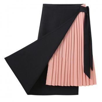 New Women Fashion Pleated Skirt Patchwork Spring Summer Irregular Skirt Fake Two Pieces High Waist Pleated Side Slit Skirt