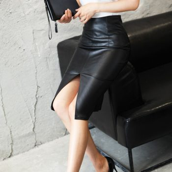 High Waist PU Leather  Skirt Plus Size Fashion Ladies Package Front Hip Slit Skirt Slim Skirts Office Pencil Skirt Knee Length