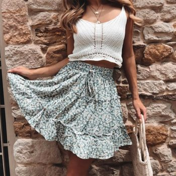 New  Retail Hot Sale Women Sexy High Waist Frills Skirt Flower Printed Beach A-line Mini Skirts