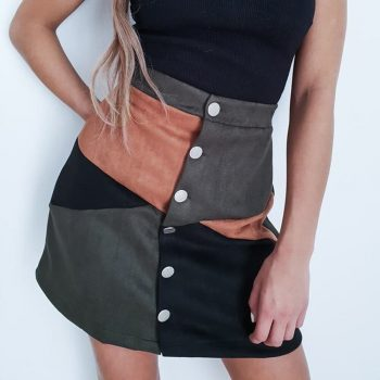 NewWomen Autumn Button Block Suede High Waist Chic Short Skirt Casual Ladies Mini Skirts Female Patchwork Skirts Clothing