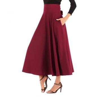Women High Waist Casual Pleated A Line Long Skirt Front Slit Bow Belted Maxi Skirt Faldas Mujer Moda  W613