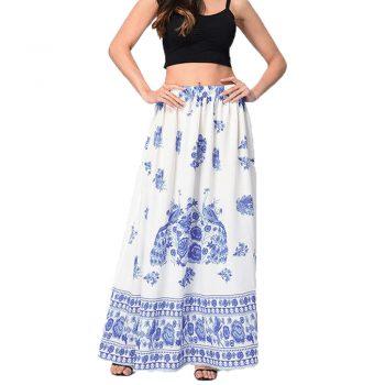 New Arrived Casual Print Floor-Length Skirt Women Bohemian Maxi Skirt Beach Floral Holiday Summer High Waist Long Skirt W613