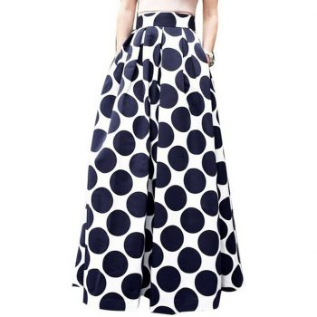 2019 new Fashion Party Cocktail Summer Women Dot Printed Skirt High Waist Long Skirt casual Free Shipping W613