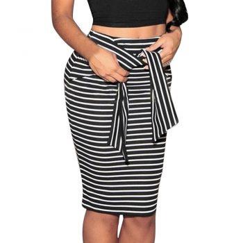 2019 Spring Winter Women Skirt Black White Striped Bow-Tie Zipper Knee-Length Empire Pencil Skirts Sexy Slim Skirts W614