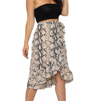 Fashion Casual Summer Womens Ladies High Short Before Tie Bow Animal Print Ruffle Hem Beach Frill Wrap Midi Mid-Calf Skirt W618