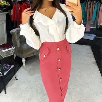 fashion Women High Waisted Pencil Club Skirt Bodycon Button Pocket solid color Streetwear Party Club Flash Pencil Skirts W613