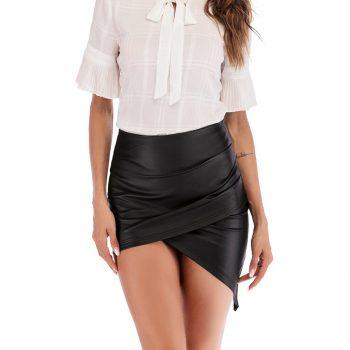 High Waist Black PU Leather Skirts Womens Wrap Pencil Sexy Summer Asymmetrical Mini Skirt 2019 For Women W612