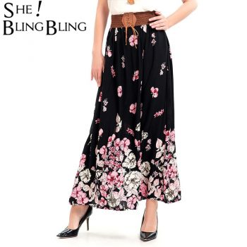 SheBlingBling Size M-2XL Women Skirts  Spring Summer Fashion Floral Printed Long Skirts Lace Up Elastic High Waist Skirts