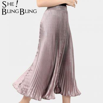 SheBlingBling 2019 Summer Metallic Bright Silk Fabric Elastic High Waist Women Pleated Skirts Vintage Female Casual Long Skirt