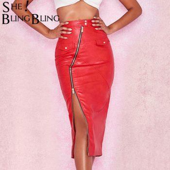 Sheblingbling Zipper Patchwork Women Faux Leather PU Skirts Rivets Pockets High Waist Pencil Skirt Streetwear Lady Midi Skirts
