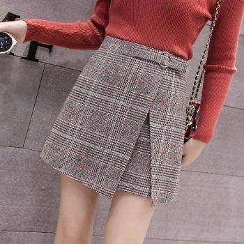 Autumn Winter Irregular Skirt Women 2019 High Waist Plaid Women Plus Size Skirts Falda Mujer A-line Skirts Womens for Spring