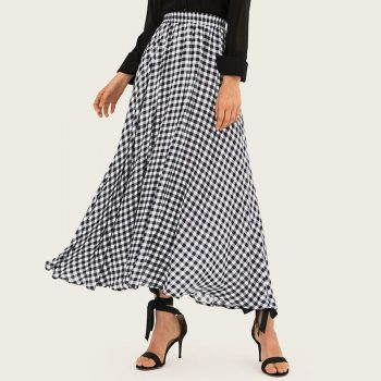 Spring And Summer Printed High Waist A-line Skirts Women 2019  Ruffles Casual Plaid Long Skirts Womens Maxi Skirt Women