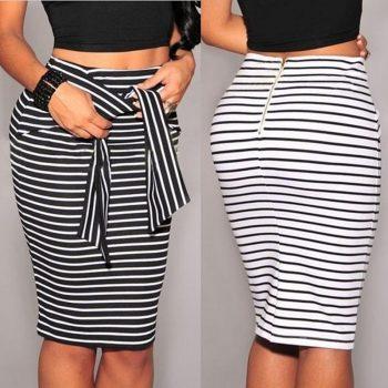 Autumn Skirts Womens Striped Hip High Waist Skirts Bandage Skirt Female Pencil Knee Length Summer Skirts Women