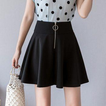 S-2xl Zipper Black Pleated Mini Skirt Women 2019 Slim High-waist Umbrella Women Plus Size Skirts Slim A-line Summer Skirt Women