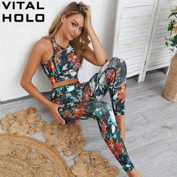 2 Piece Set Women Sport Suit Fitness Yoga Set Gym Clothing Women Tracksuit High Waist Workout Clothes Sports Wear For Women Gym