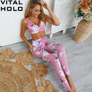 Yoga Set Fitness Women Tracksuit Gym Clothing Floral Sport Suit Women 2 Piece Gym Set Workout Clothes Sports Wear For Women Gym