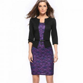 Fashion Women Retro Vintage Faux Two Piece Dress Elegant Lady Plaid Long Sleeve Pencil Dress Office Wear Outfits Plus Size Belt