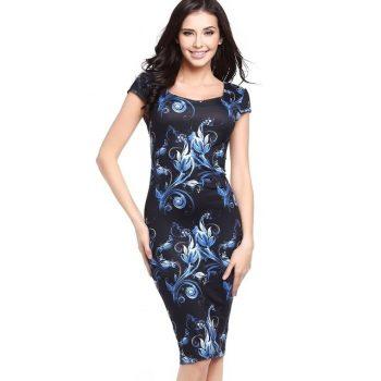 Summer Dress Women Vintage Print Clothing Sheath Office Dress Bodycon Midi Slim Pencil Dress Short Sleeve Party Vestidos
