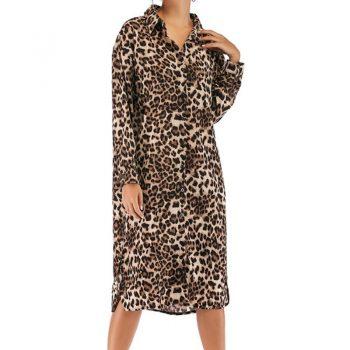 Hot Spring 2019 Women's Dress High Street Wear Autumn Clothes Fashion Leopard Print Dresses Sexy Medium Long Split Shirt Dress