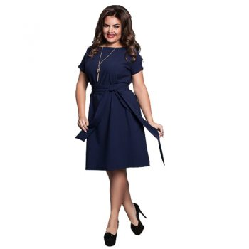 6XL Plus Size Dresses Fashion Office Work Laides Summer Chiffon Dress Women Loose Elegant Dress Belt Big Size Vestidos Blue Red