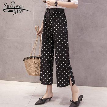 new Casual wave point chiffon pants fashion women pants 2019 summer casual pants women striped Wide Leg pants Free Belt 0759 30