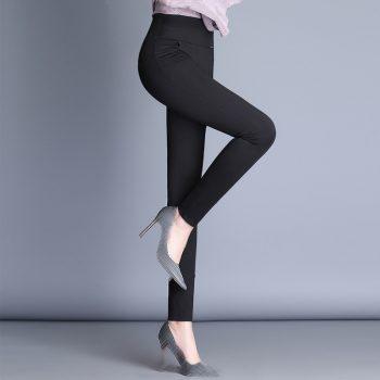 2019 Women Fashion Autumn Winter Pants Ladies Casual Solid Color Long Black Elastic Waist Trousers Female Pantalones  Plus Size