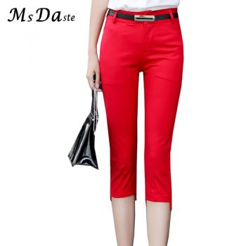 Summer Pencil Pants 2019 Bodycon Mid-calf Women Belted Trousers Capri High Waisted Slim Fitness Lady Leggings Pantalon Femme