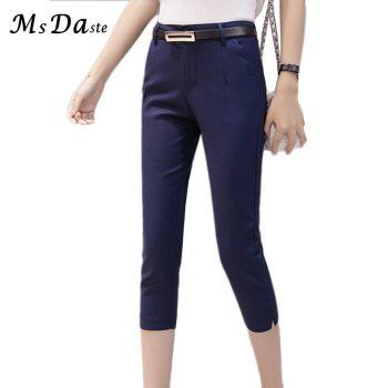 Women Pants Summer 2019 Mid-calf Length Casual Ladies Elastic Leggings Work Wear High Waist Bodycon Slim Female Belted Trousers