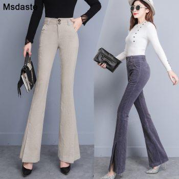 Flare Pants Women 2019 Autumn Winter High Waist Casual Female Skinny Trousers Elegant Office Lady Elastic Waist Flare Hem Pants