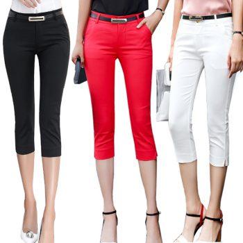 Pants Women Summer Skinny Breeches Cropped Trousers High Waist Office Lady Slim Capris Pantalon Femme Woman Bodycon Pencil Pant