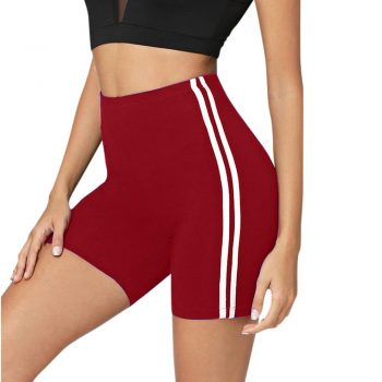 Uwardrobe Striped Side Cycling sports short feminino Active Women Wear Skinny Biker Shorts 2019 Summer Fitness Casual Shorts ED