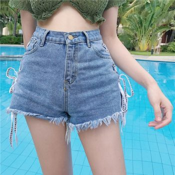 Summer new fashion hot ladies denim shorts comfortable cloth straps bow nice look fringed short jeans spodenki damskie 40*
