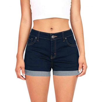 Women Mid  Waisted Washed denim shorts Solid Mini Shorts  Jeans crimping Mini Plus size short femme ete