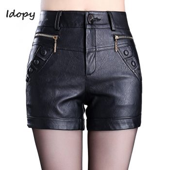 Idopy Fashion Womens PU Leather Sexy Shorts Side Zippers Skinny Fit Night Club Short Pants Black Red Shorts For Women