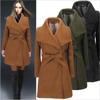 2019 New Autumn winter vintage jacket Women's wool blend trench coat oversize casual long coats with belt