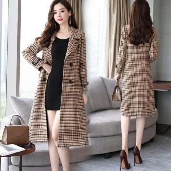Fashion Wool Coat Women Plaid Long Coat Long Sleeve Overcoat Loose Outwear Female Winter Autumn Trench Coats Plus Size