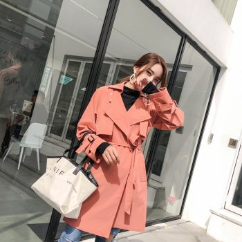2019 spring New  Fashion Woman Casual Trench