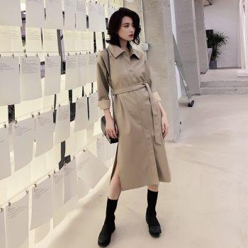 Women Long  Leather Jacket 2019 New Spring Loose Belt PU Leather Windbreaker Trench Coat Slim Autumn Jacket