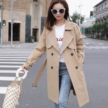 Khaki Women Trench Coat 2019 Spring Autumn Korea Style Mid-Long Trench Female Casual Windbreaker Clothes