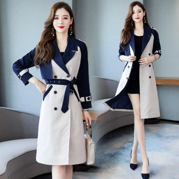 Fashion Harajuku Trench-coat for Women Autumn Double-Breasted Coat Casual Overcoat Long-coat Office Lady Loose Top Windbreaker