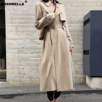 Spring Autumn Maxi Long Women's Loose Trench Coat With Belt Khaki & Black Plus Size Korean Style Windbreaker Outwear