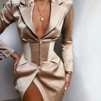 JULISSA MO Fashion V Neck Long Blazers Coats And Jackets Women Turn-Down Collar Covered Button Coats Autumn Sexy Blazers Dresses