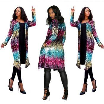 2019 Autumn Long Sequins Coat Gradient Color sequined Coats jacket Beading Cardigan Metal Color splicing Windbreaker LM63