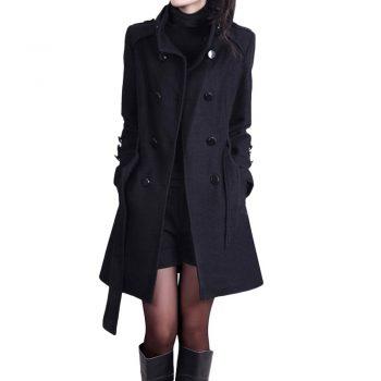 Trench Coat Women Autumn Winter Fashion Double Breasted Slim Windbreaker With Pocket Ветровка Gabardina De Mujer Trencz OY40*