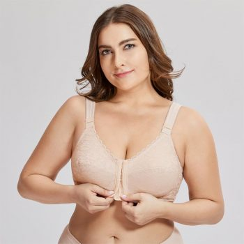 Women's Full Coverage Posture Corrector Front Closure Wireless Back Support Lace Bra Plus Size 38-52 D E F Cup