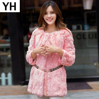 2019 Lady Autumn Winter Genuine Real Rex Fur Jacket Women Long Style Rex Rabbit Fur Coat 100% Natural Rex Rabbit Fur Overcoat