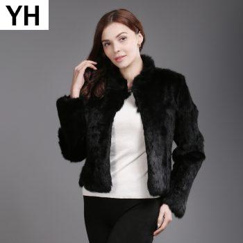 Genuine Full Pelt Real Fur Jacket Women New Design Real Rabbit Fur Coat Natural Rabbit Fur Coats Slim Real Rabbit Fur Overcoat