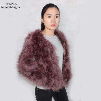 Linhaoshengyuefashion  Ostrich hair  women  coat freeshipping Hot fashion freeshipping  long 50cm
